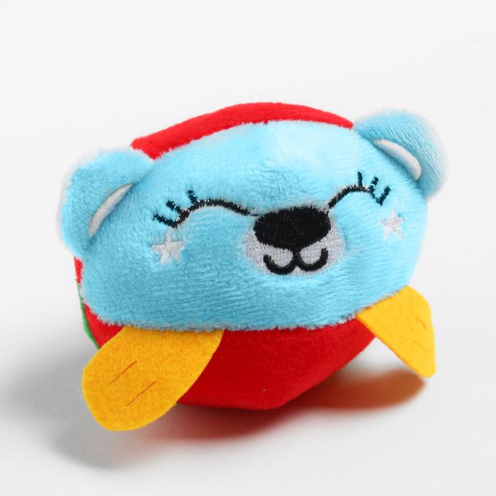 Развивающая, мягкая игрушка - мячик Мишка, с погремушкой, в сумочке