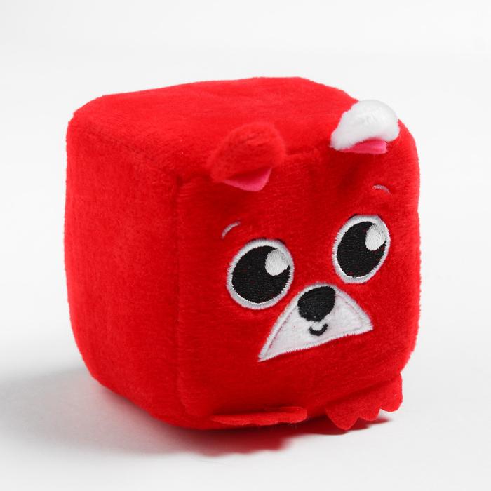 Развивающая игрушка, мягкий кубик Собачка, с погремушкой, в сумочке