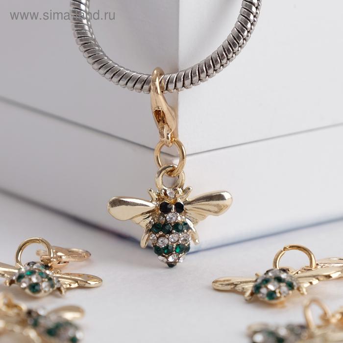 """Шарм """"Пчёлка"""" труженица, цвет бело-зелёный в золоте"""