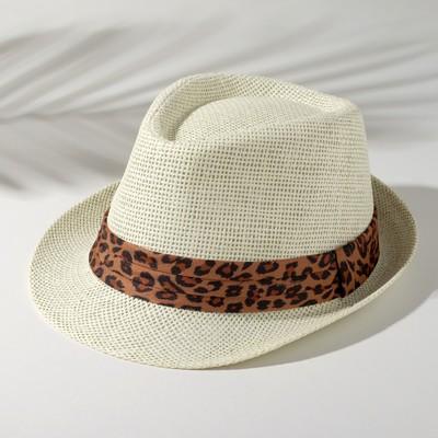 """Шляпа женская MINAKU """"Леопард"""", размер 56-58, цвет экрю"""