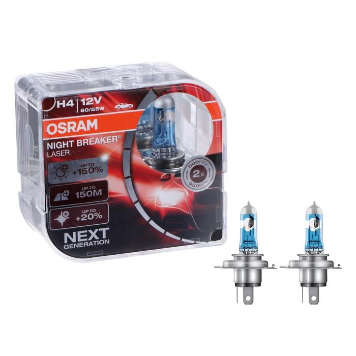 Автолампа OSRAM NIGHT Night Breaker Laser +150%, H4, 12 В, 60/55 Вт, 64193NL_HCB