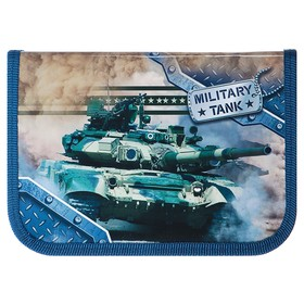 Пенал 1 секция, 130 х 190 мм, ламинированный картон, «Оникс», ПКК 04- 5, «Танк милитари»