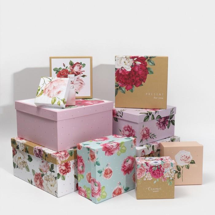 Набор подарочных коробок 10 в 1 «Цветы», 10.2 × 10.2 × 6–28.2 × 28.2 × 15 см