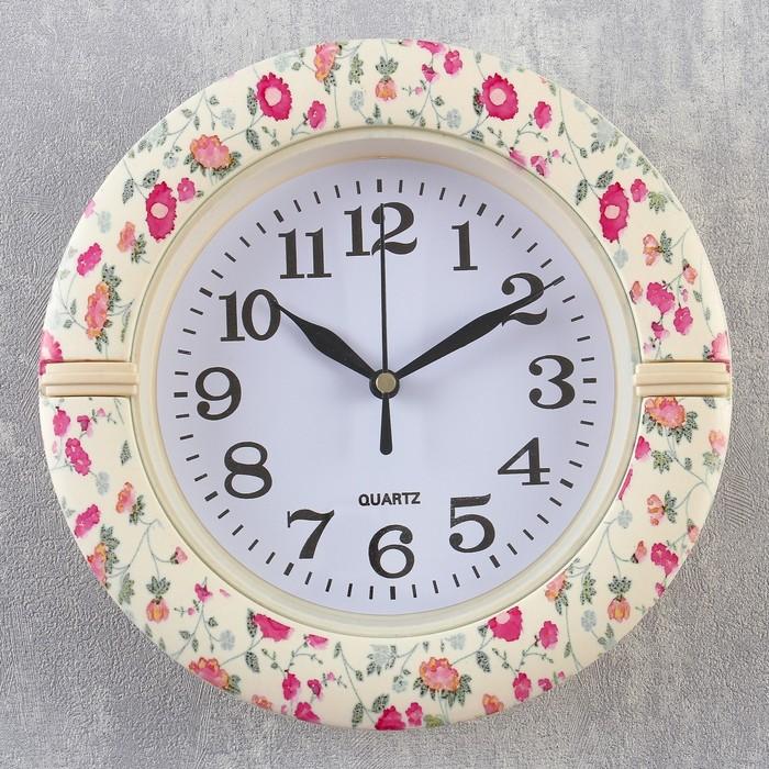 Часы настенные, серия Классика, Цинния, d19 см, микс