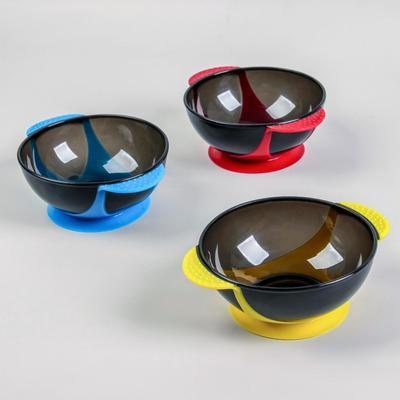 Чаша для окрашивания, с ручками, на присоске, d = 16 см, цвет МИКС - Фото 1