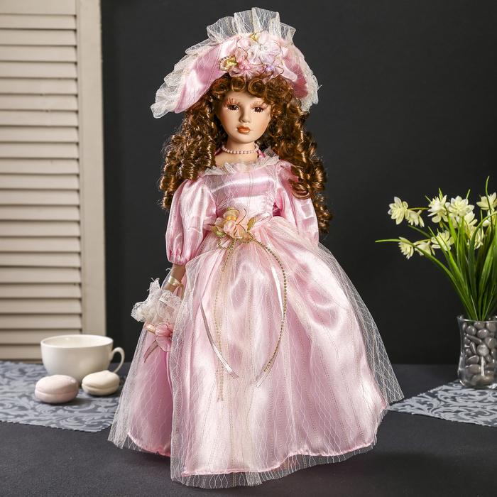 """Кукла коллекционная керамика """"Леди Катарина в нежно-розовом платье в шляпке"""" 40 см"""