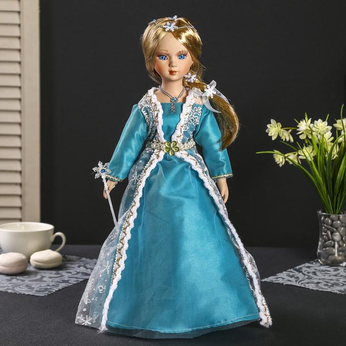 """Кукла коллекционная керамика """"Ариадна в голубом платье с белыми цветами"""" 40 см"""