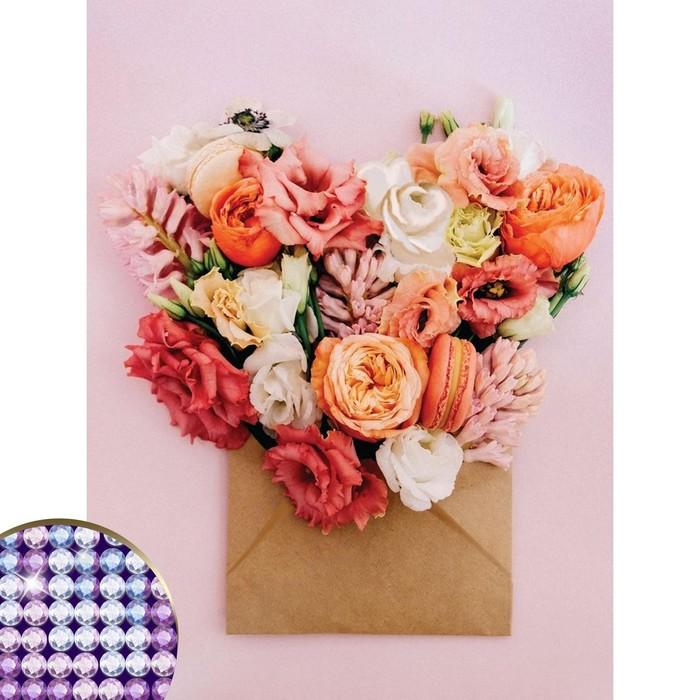 Алмазная вышивка с частичным заполнением «Цветы», 30 х 40 см, холст, емкость. Набор для творчества