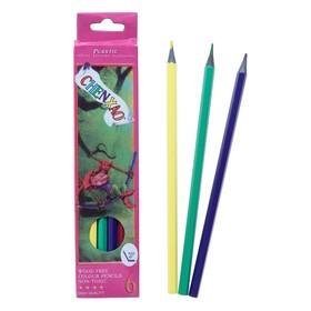 Карандаши 6 цветов, в картонной коробке, заточенные, корпус пластиковый Ош