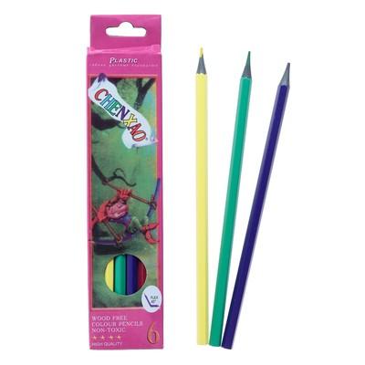 Карандаши 6 цветов, в картонной коробке, заточенные, корпус пластиковый