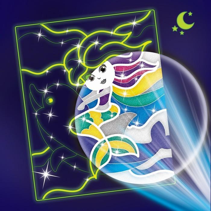 Набор для творчества. Лунная фреска «Русалка и дельфин», светящийся песок + блёстки
