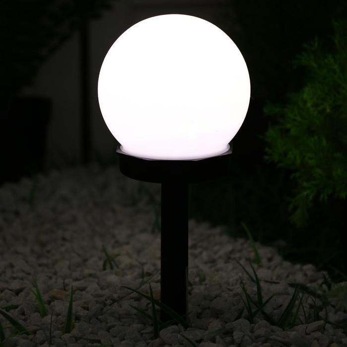 """Фонарь садовый на солнечной батарее """"Шар малый"""" 34 см, d-10 см, 1 led, пластик Т. БЕЛЫЙ"""