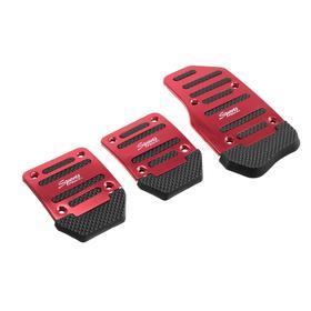 Накладки на педали Cartage, антискользящие, красный, набор 3 шт Ош