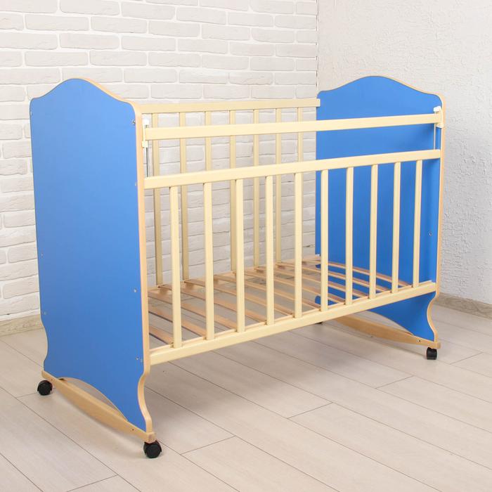 Детская кроватка «Морозко» на колёсах или качалке, цвет синий