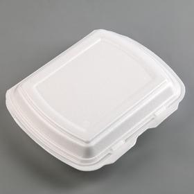 Ланч-бокс одноразовый, 24,7×20,8×6,3 см, 2 секции, 130 шт/уп, цвет белый