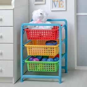 Этажерка для игрушек 3-х секционная Альтернатива «Радуга» Ош