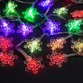 """Гирлянда """"Нить"""" 5 м с насадками """"Снежинки малые"""", IP20, прозрачная нить, 20 LED, свечение мульти, мигание, 220 В"""
