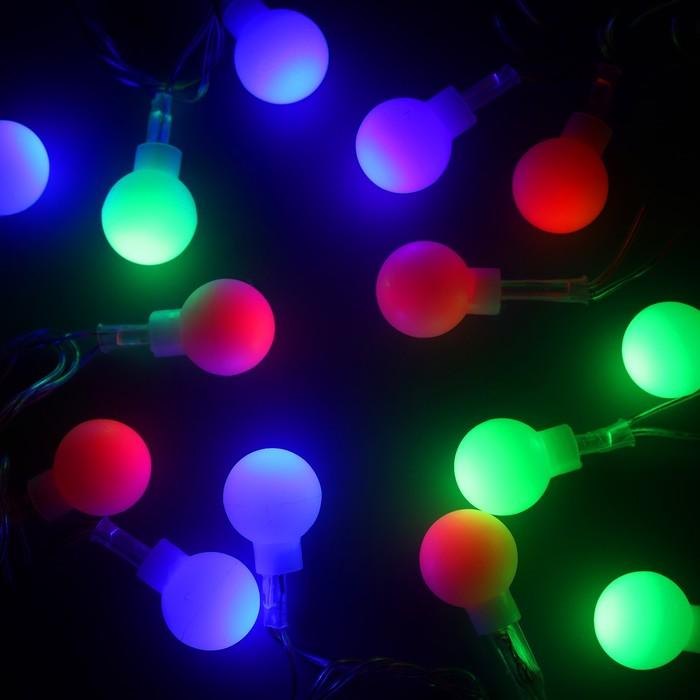 """Гирлянда """"Нить"""" 5 м с насадками """"Шарики белые"""", IP20, прозрачная нить, 20 LED, свечение RG/RB, мигание, 220 В"""