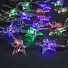 """Гирлянда """"Нить"""" 5 м с насадками """"Звезда средняя"""", IP20, прозрачная нить, 20 LED, свечение мульти, мигание, 220 В"""
