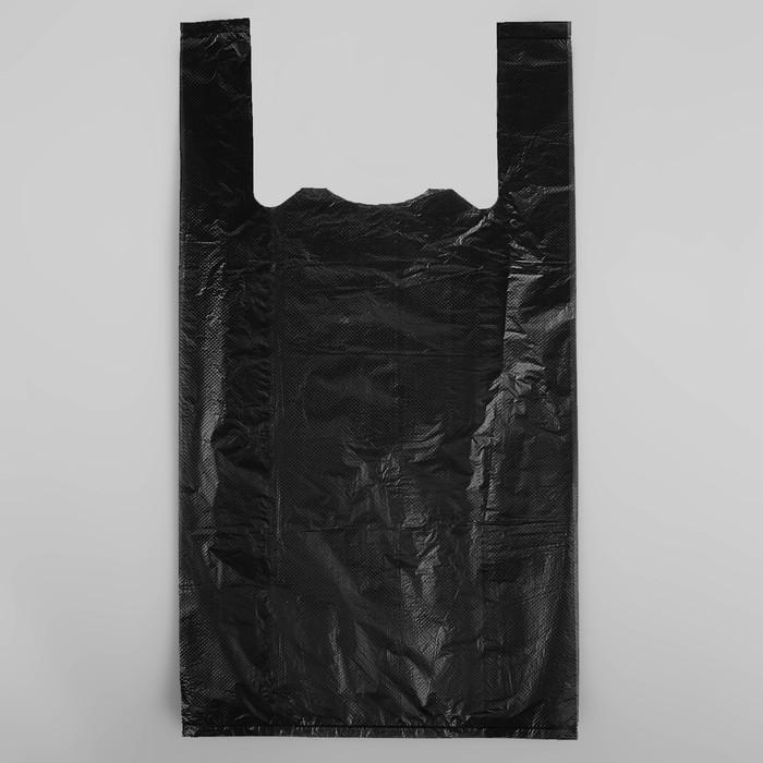 """Пакет """"Чёрный"""", полиэтиленовый, майка, 25 х 45 см, 11 мкм"""