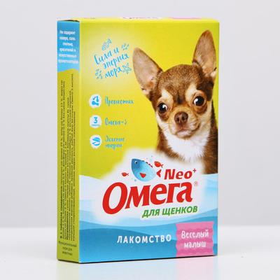 """Лакомство Омега Neo+ С-М с пребиотиком """"Веселый малыш"""" для щенков, 60 таб - Фото 1"""