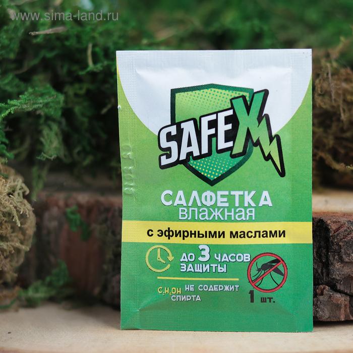 Влажная салфетка от комаров на основе натуральных эфирных масел, SAFEX 1 шт
