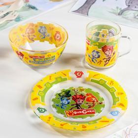 Набор посуды детский «Фиксики», 3 предмета: кружка 200 мл, салатник 13 см, тарелка 20 см