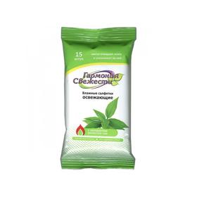 Салфетки влажные BioCos, с экстрактом зелёного чая, 15 шт. Ош