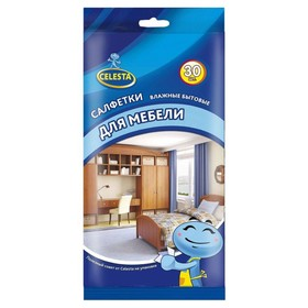 Салфетки влажные бытовые Celesta, для мебели, 30 шт.