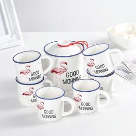 Набор чайный «Фламинго», 7 предметов: чайник 400 мл, 6 кружек 100 мл, рисунок МИКС