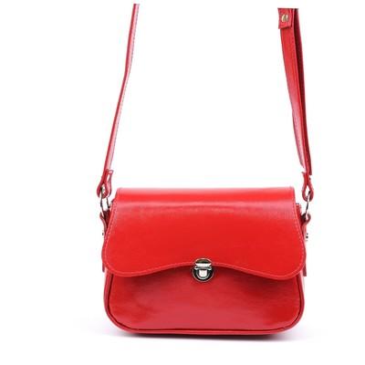 Сумка женская, наружный карман, 1 отдел, плечевой ремень, красный наплак - Фото 1
