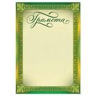 Грамота классическая, зеленая, 21х14,8 см