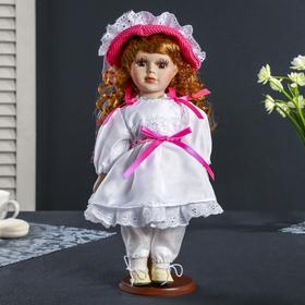 Кукла коллекционная керамика 'Ирина в белом платье с розовыми завязками' 30 см Ош