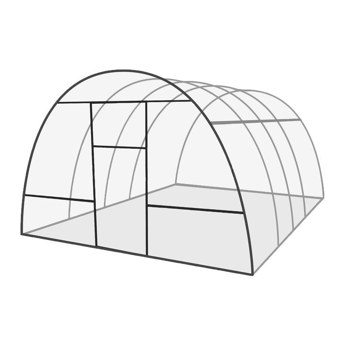 Каркас теплицы «Базовая», 8 × 3 × 2,1 м, оцинкованная сталь, профиль 20 × 20 мм, шаг дуг 65 см, 1 мм, без поликарбоната