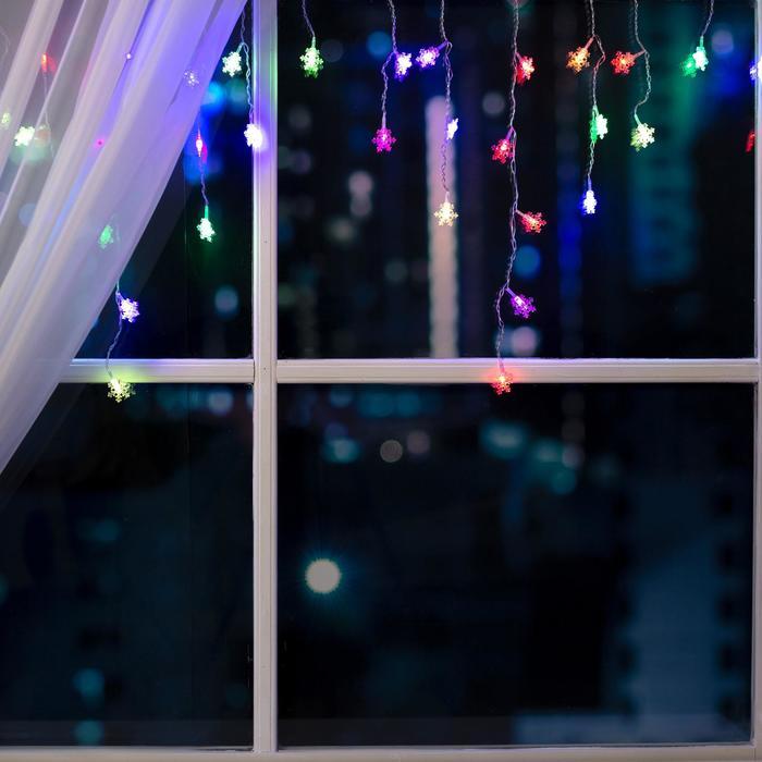 """Гирлянда """"Бахрома"""" 3 х 0.5 м с насадками """"Снежинки"""", IP20, прозрачная нить, 80 LED, свечение RG/RB, мигание, 220 В"""