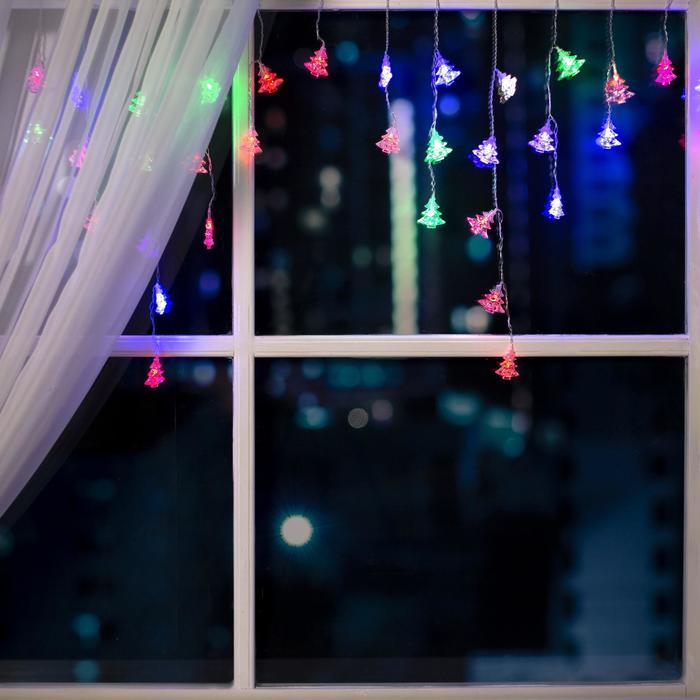 """Гирлянда """"Бахрома"""" 3 х 0.5 м с насадками """"Ёлки"""", IP20, прозрачная нить, 80 LED, свечение RG/RB, мигание, 220 В"""