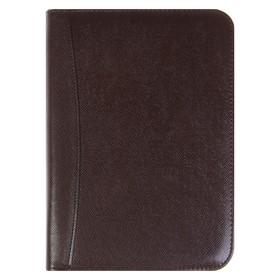 Органайзер на кольцах, формат А5, 100 листов, линия, с калькулятором, коричневый, на молнии Ош