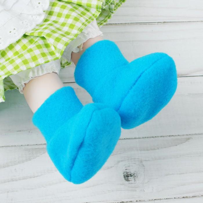 Носки для куклы, длина стопы 7 см, цвет голубой