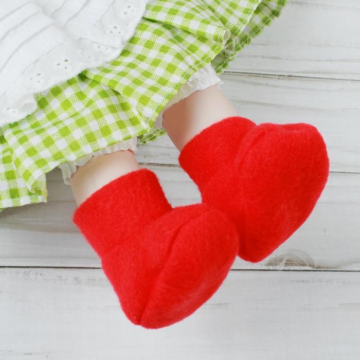 Носки для куклы, длина стопы 7 см, цвет красный