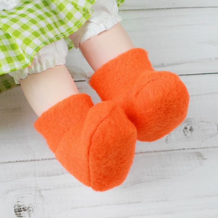 Носки для куклы, длина стопы 6 см, цвет оранжевый