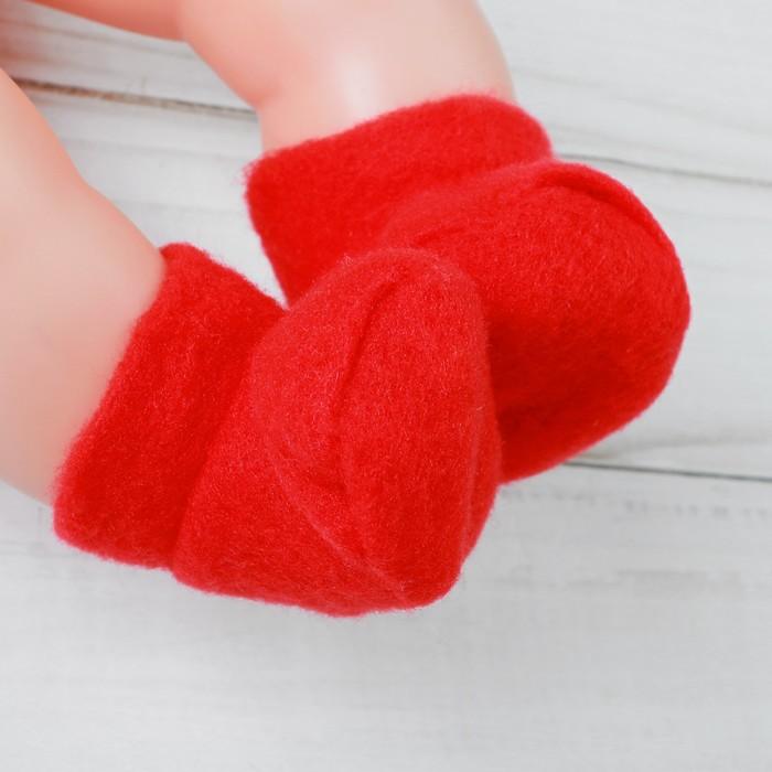Носки для куклы, длина стопы 6 см, цвет красный