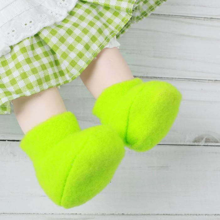 Носки для куклы, длина стопы 6 см, цвет зелёный
