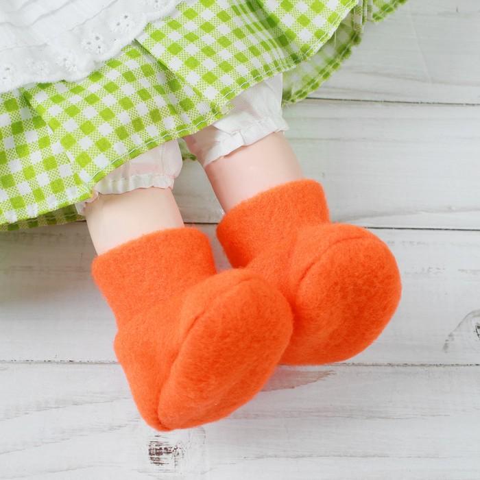 Носки для куклы, длина стопы 7 см, цвет оранжевый