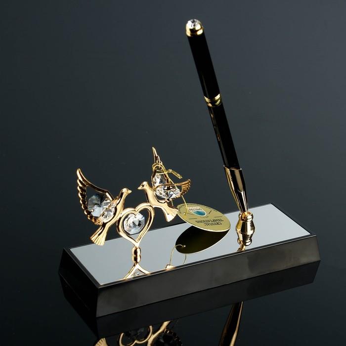 Ручка на подставке «Голуби», 16×6×19 см, с кристаллами Сваровски