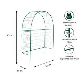 Арка садовая, разборная, 180 × 150 × 50 см, металл, зелёная, «Беседка» Ош