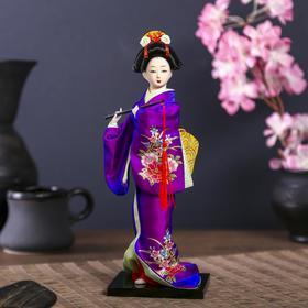 Кукла коллекционная 'Японка в фиолетовом кимоно с флейтой' 25х9,5х9,5 см Ош