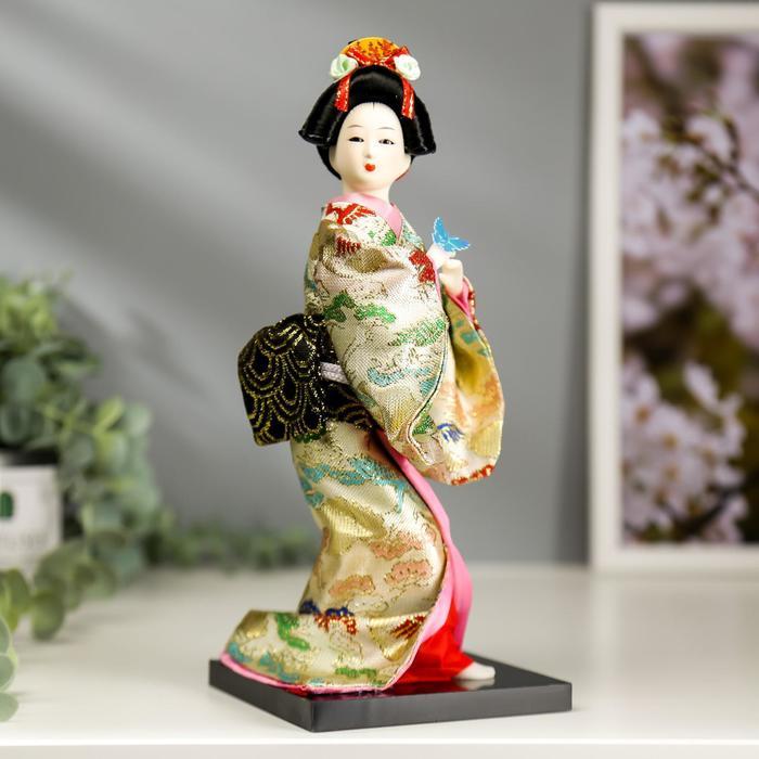 Кукла коллекционная Японка в цветочном кимоно с бабочкой на руке 25х9,5х9,5 см