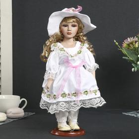 Кукла коллекционная керамика 'Алевтина в белом платье и шляпке' 30 см Ош