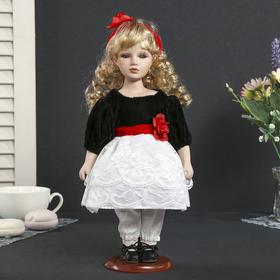 Кукла коллекционная керамика 'Агния в чёрном платье с белым кружевом,красным цветком' 30 см Ош