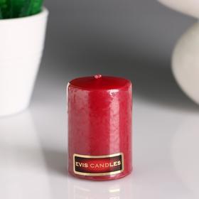 Свеча- цилиндр, парафиновая, бордо, 4×6 см Ош